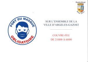 PORT DU MASQUE OBLIGATOIRE SUR TOUT LE TERRITOIRE COMMUNAL