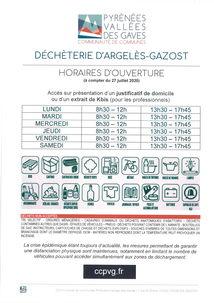 DECHETERIE D'ARGELES-GAZOST - HORAIRES D'OUVERTURE