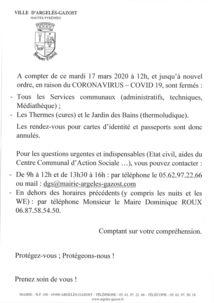 COVID-19  -  FERMEMETURE DES SERVICES COMMUNAUX