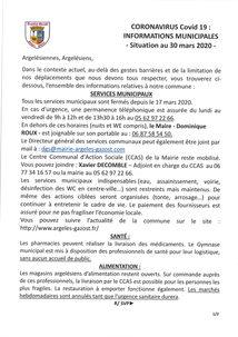 CORONAVIRUS Covid-19 : INFORMATIONS MUNICIPALES - Situation au 30 mars 2020