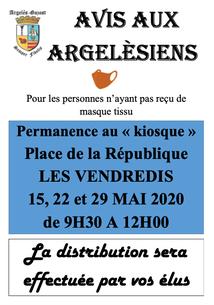 DISTRIBUTION DE MASQUES PAR LES ÉLUS D'ARGELÈS-GAZOST