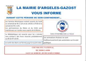 INFORMATION DURANT LA PÉRIODE DE SEMI-CONFINEMENT