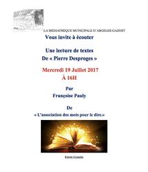 LECTURE DE TEXTES A LA MEDIATHEQUE D'ARGELES-GAZOST