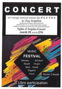 CONCERT AUTOUR DES FLUTES DE GUY ANGELLOZ EN L'EGLISE D'ARGELES-GAZOST